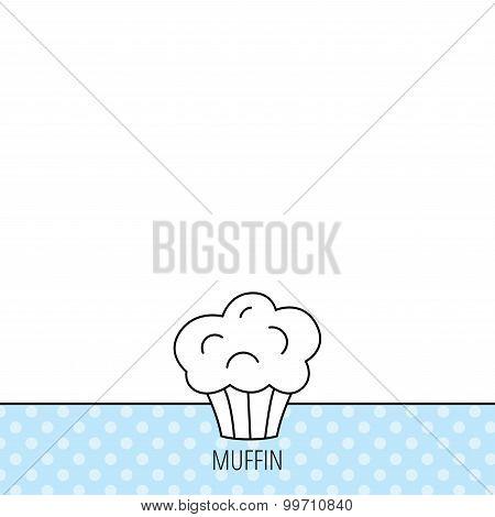 Muffin icon. Cupcake dessert sign.