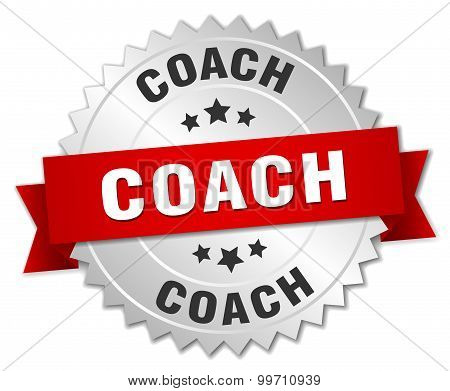 Coach 3D Silver Badge With Red Ribbon
