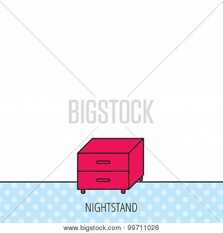 Nightstand icon. Bedroom furniture sign.