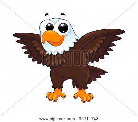 Young eagle. Funny cartoon vector isolated animal.
