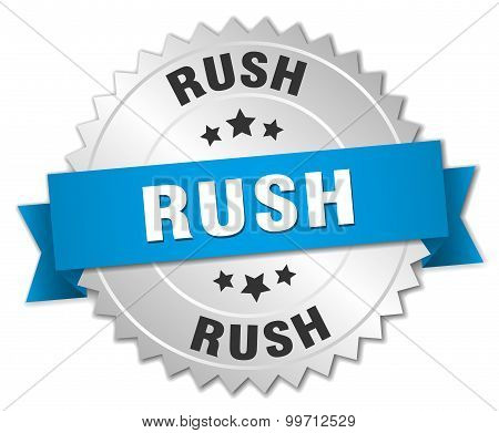 Rush 3D Silver Badge With Blue Ribbon