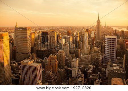 NEW YORK CITY, USA - SEPTEMBER, 2014: Aerial view Manhattan New York City at sunset