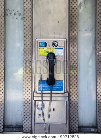 NEW YORK CITY, USA - SEPTEMBER, 2014: Old fashioned pay phone in Manhattan New York