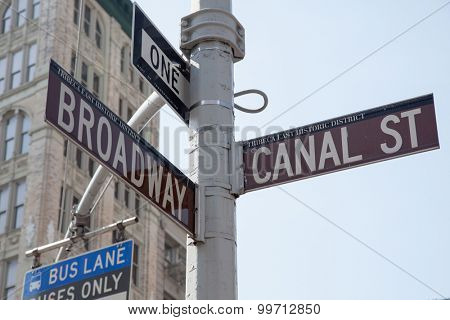 NEW YORK CITY, USA - SEPTEMBER, 2014: Intersection Broadway and Canal street
