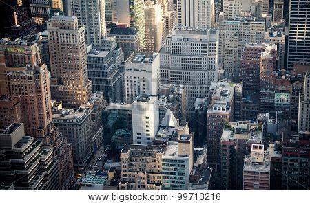 NEW YORK CITY, USA - SEPTEMBER, 2014: Rooftops of midtown Manhattan New York City