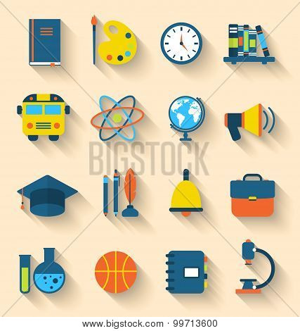 Illustration Set of Education Flat Colorful Icons with Long Shadow Style