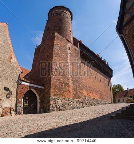Olsztyn, Poland - August 21, 2015: Old Teutonic Castle In Olsztyn (gothic Crusaders Castle), Tourist