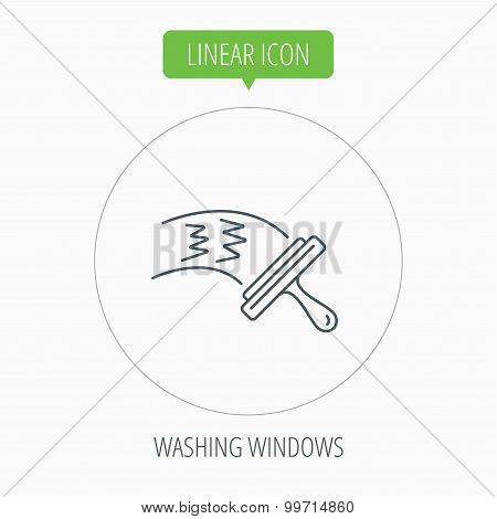 Washing windows icon. Cleaning sign.