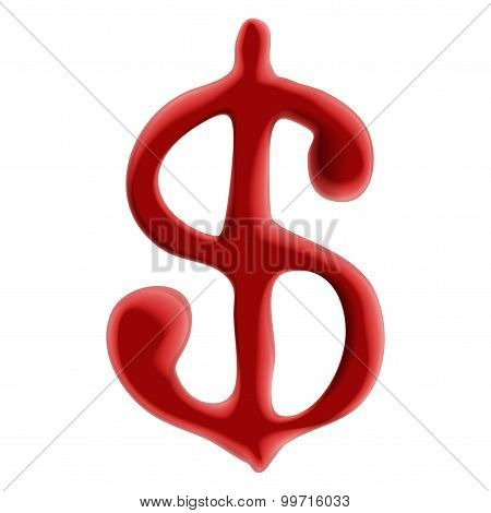 Red Blood Dollar Sign On White Background