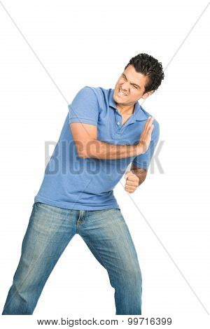 Man Body Weight Pushing Against Side Object