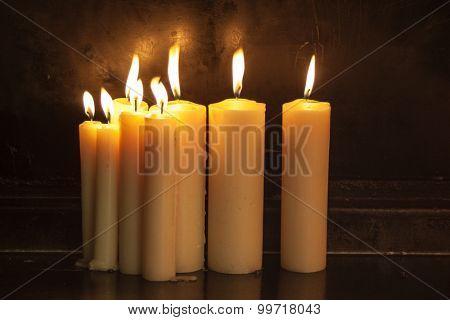 Burning candles at night