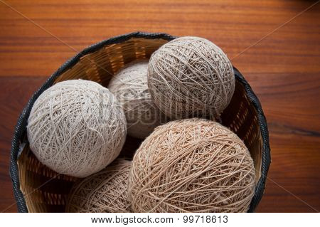 balls of knitted wool in basket, closeup