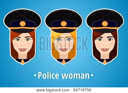 Set of vector illustrations of a girl police. Woman police. The girl's face. Icon.