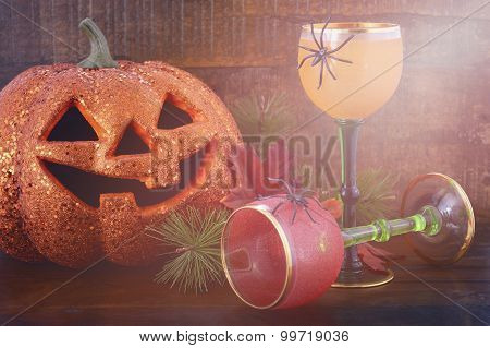 Happy Halloween Table With Jack O Lantern Pumpkin