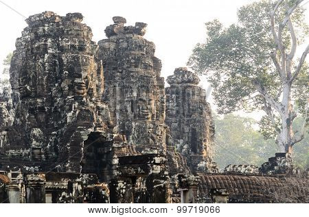 Prasat Bayon, part of Angkor Khmer temple complex, popular among tourists ancient landmark and place of worship in Southeast Asia. Siem Reap, Cambodia.