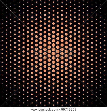 Atomic tangerine techno dot on black background