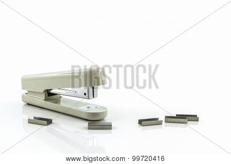 White Stapler With Staples Wires.