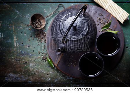 Black iron asian tea set,vintage style