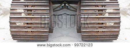 Steel Wheel Of Lifting Crane Close Up Of Wheel Of Crane Tracks On The Concrete Floor