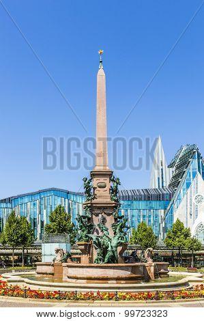 Historic Fountain In Leipzig On Augustus Square