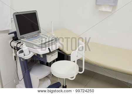 Interior of a doctor office with ultrasonography apparatus