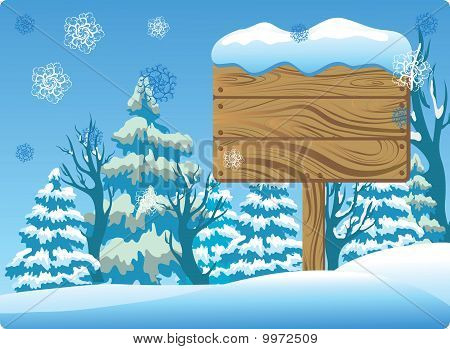 Winter Wooden Signboard