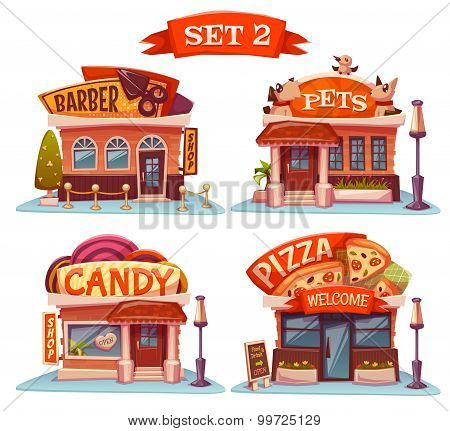 Candy, Pets shop, Pizzeria and barbershop. Vector set. Illustration