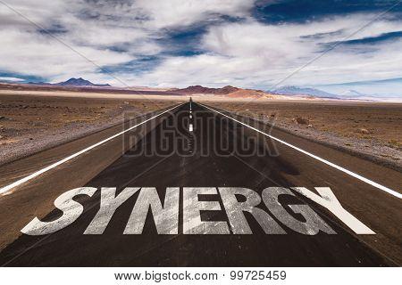 Synergy written on desert road