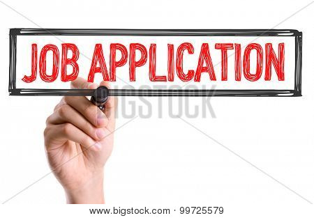 Hand with marker writing the word Job Application