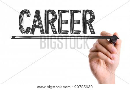 Hand with marker writing the word Career