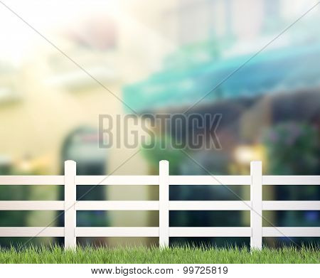 Fence Wall And Blur Building Background