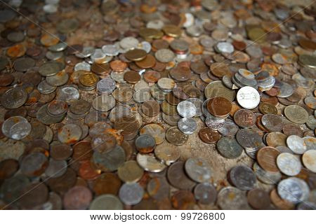 Bunch of various international coins
