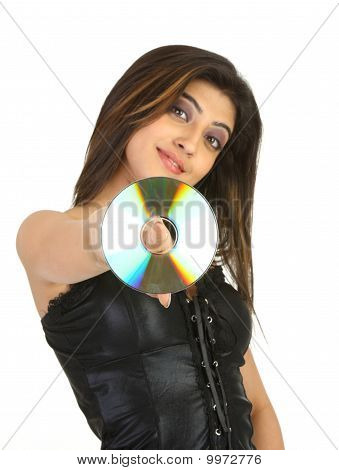 cosmopolitan girl with the CD
