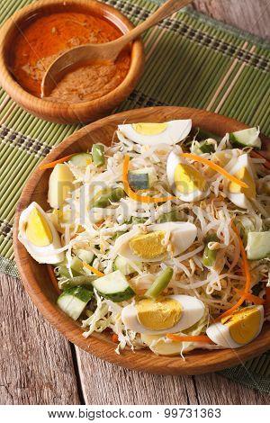 Gado Gado Indonesian Vegetable Salad Close-up. Vertical