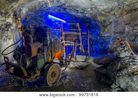 Construction Work At Underground Salt Cathedral Zipaquira Built Within The Multicolored Tunnels From