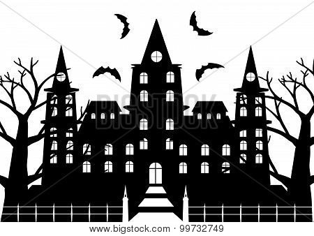 Black And White Of Horror Castel With Dead Tree And Bats Flaying For Halloween Background. Vector Il