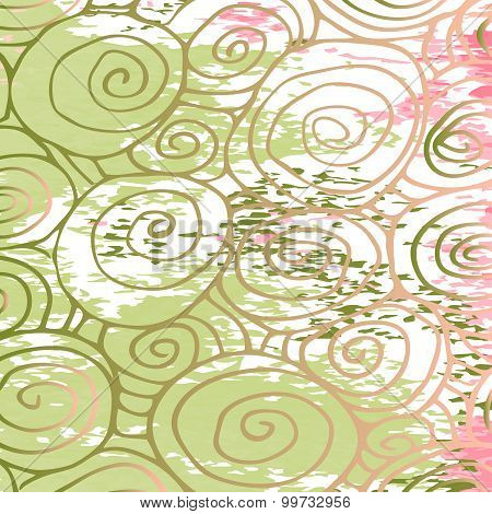 Seamless Wave Hand-drawn Pattern, Waves Abstract Background Curled Pattern Grange