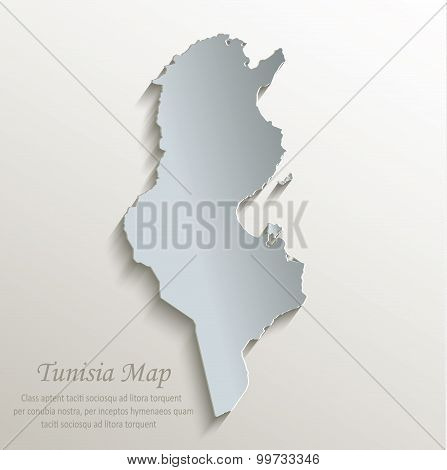 Tunisia map white blue card paper 3D vector