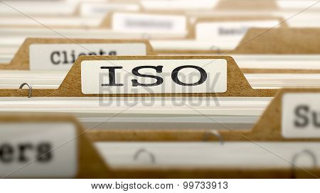 ISO Concept with Word on Folder.
