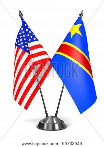 USA and Democratic Republic Congo - Miniature Flags.