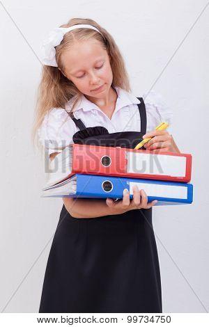 Schoolgirl with folders