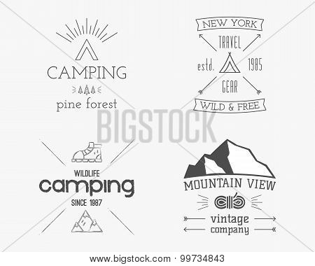 Mountain and family forest camp badge, logo and label template. Travel, hiking, climbing style. Outd