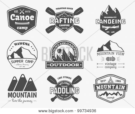 Set of vintage mountain, kayaking, paddling, canoeing camp logo, labels and badges. Stylish Monochro