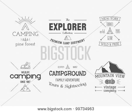 Set of vintage explorer, mountain, forest logo, labels and badges. Stylish Monochrome design. Outdoo