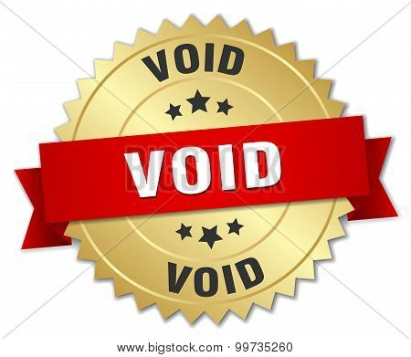 Void 3D Gold Badge With Red Ribbon