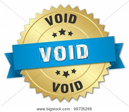 Void 3D Gold Badge With Blue Ribbon