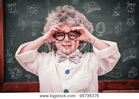 School doodles against pupil wearing peruke and eyeglasses