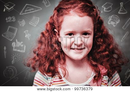 Education doodles against portrait of cute little girl