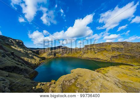 Viti is a beautiful crater lake of a turquoise color located at Laki on the South of Iceland, HDR.