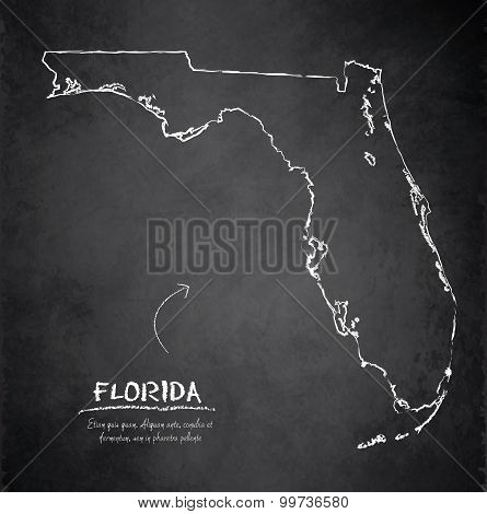 Florida map blackboard chalkboard vector